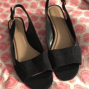 Ellen Tracy wedge peep toe sandals 10m